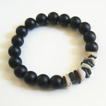 Men's Bracelets - Men's Jewelry - Men's Matte black Onyx and Lip