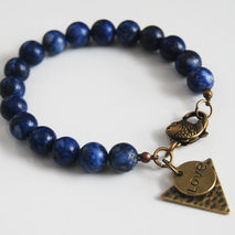 Men's Bracelet-  Lapis Lazuli Beaded Bracelet- Men's Jewelry- Un