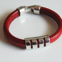 Men's Red Licorice Leather Bracelets - leather Bracelets- Mens j