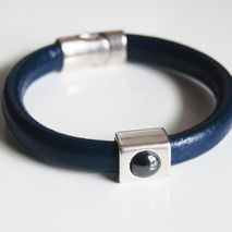 Men's Blue Licorice Leather Bracelets - leather Bracelets - Mens