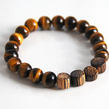Men's Bracelets - Men's Jewelry - Men's Tiger Eye and Wood Bead