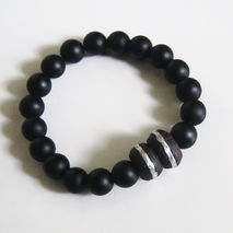 Men's Bracelet - Men's Jewelry - Men's  black Onyx and African E
