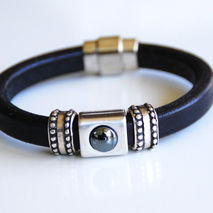 Men's Black Licorice Leather Bracelets -  Mens jewelry- Mens Bra