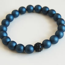 Men's Bracelets - Men's Jewelry - Men's Dark Blue Satin Bead  Rh