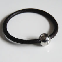 Men's Bracelet - Men's Jewelry - Men's Black Round Leather Brace