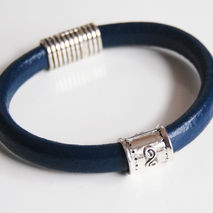 Men's Navy Blue Licorice Greek Leather Bracelets - leather Brace