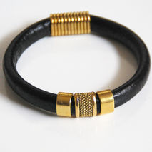 Men's Black Licorice Leather Bracelets - Mens jewelry- Mens Brac