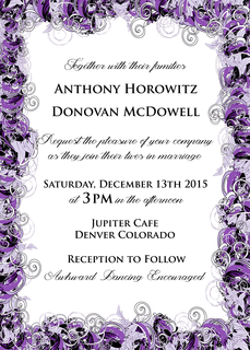 Double Sided Purple Swirl Wedding Invitation Digital File