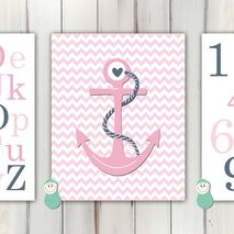 Nautical Alphabet and Number Baby Art Print