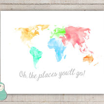World Map Art, Oh the Places You'll Go