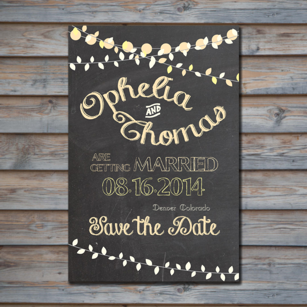 Chalkboard with Peach & Yellow String Lights Save the Date - PlayingWithMyBubbles - PinkLion