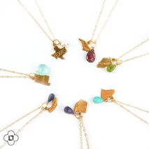 Gold Necklace with State and Birthstone