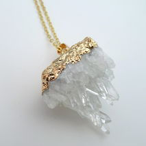 Raw Crystal Cluster Gold Necklace with Healing Crystals