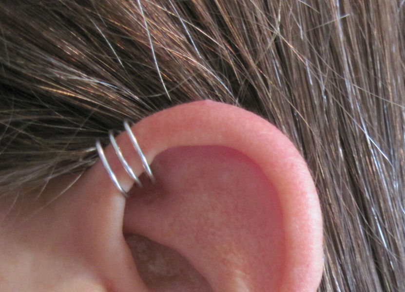 No piercing helix ear cuff triple loops 1 cuff color for Helix piercing jewelry canada
