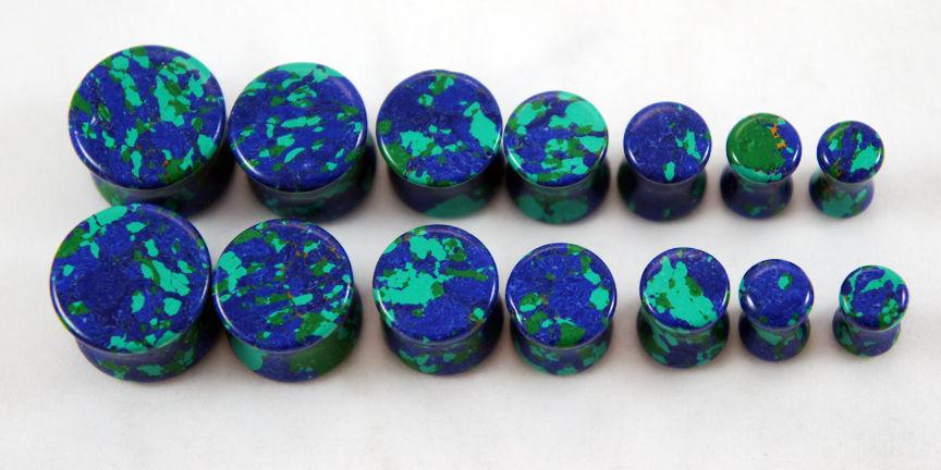 Blue Green Azurite Malachite Gemstone Double Flared Saddle