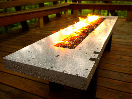 fire pit fire table concrete and glass propane fired bsquaredinc pinklion. Black Bedroom Furniture Sets. Home Design Ideas