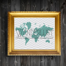 Wanderlust Quote Chevron Map Print Wall Decor Art