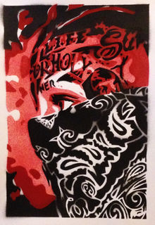 painting of hispanic gangster with bandana,stencil ...