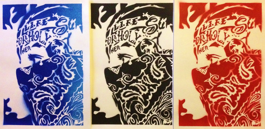 Painting On Card Bandana Man Stencils Spraypaints Gangster His