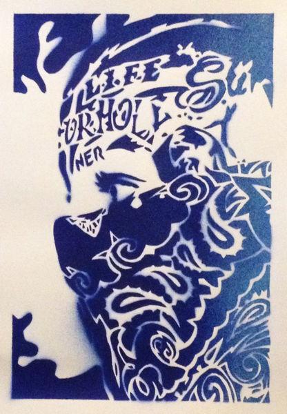painting on card,bandana man,stencils & spraypaints ...