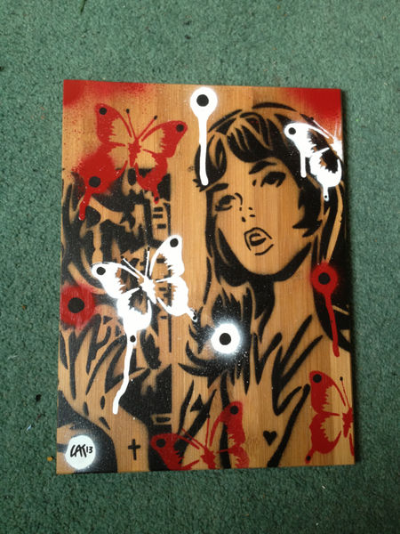 Comic Book Woman Painting On Bamboo Wooden Tile Stencils