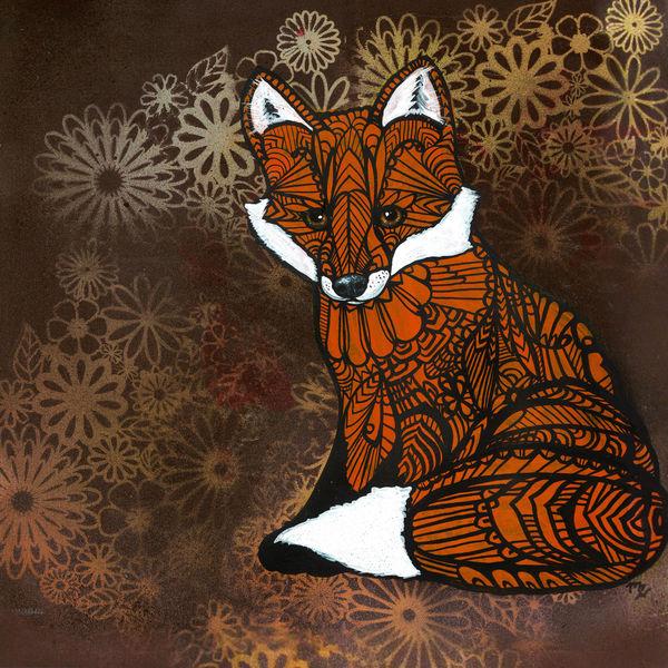 Zentangle Fox Art Print Archival Limited Edition