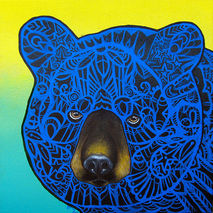 Black Bear  Zentangle Art Print