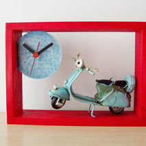 Blue Vespa red wood clock, red wooden clock with Vespa scooter