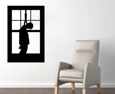scary man hanging in a window large halloween wall decal black