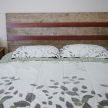 Queen size headboard made with Reclaimed Lumber and exotic wood
