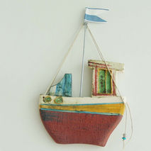 Ceramic fishing boat, wall decor ceramic boat