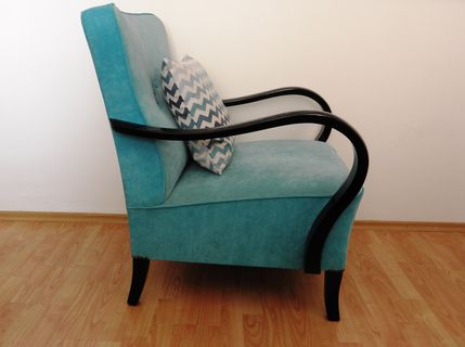 Merveilleux Restored Turquoise Art Deco Armchair From 1950u0027s
