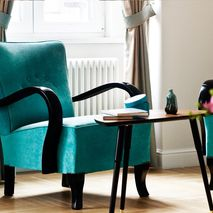 Restored turquoise art deco armchair from 1950's