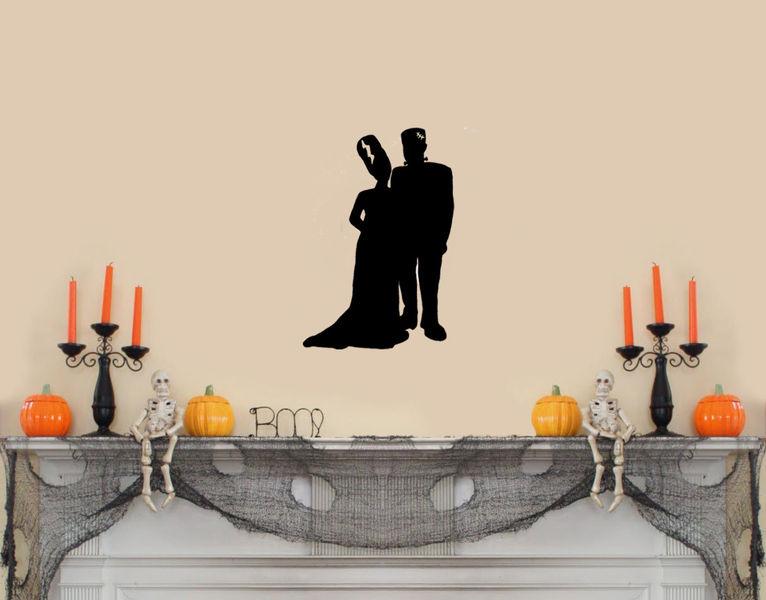 Frankenstein & Bride Silhouette (Full Body)Halloween Wall ...