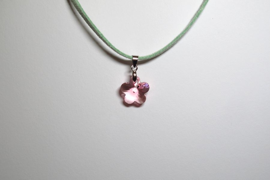 necklace deco crystal pink style img flower green uk art