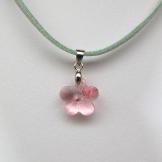 Flower crystal pendant sakura necklace light pink jeweleddream flower crystal pendant sakura necklace light pink mightylinksfo