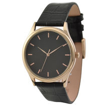 Rose Gold Watch Black