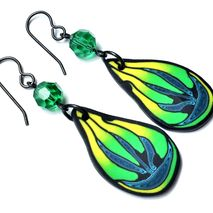 Vibrant polymer clay wing and Swarovski crystal earrings