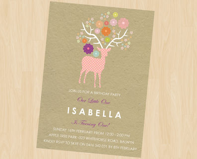 Woodland Party First Birthday Party Invitation Behind the