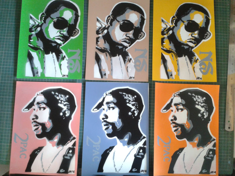 Tupac Stencil Art Paintings On Card,2pac,hip Hop,west