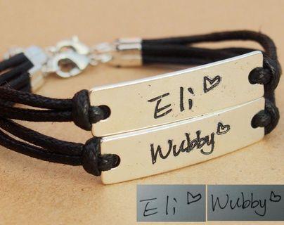 9729a2a2a Couples Name Bracelet,Name bracelet personalized, Hand written - Mybracelet  - PinkLion