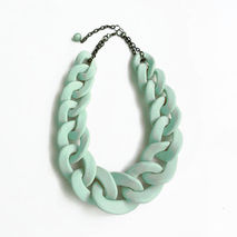 Mint Chain Link Necklace, Oversized Chain Statement Necklace