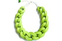 Apple Green Chain Link Necklace, Oversized Chain