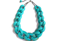 Teal Chain Link Necklace, Oversized Chain Statement Necklace