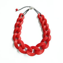 Red Oversized Chain Necklace, Chunky Chain Statement Necklace