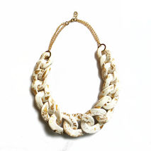 White Gold Chunky Chain Necklace, Bib Statement Necklace