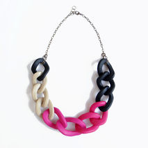 Pink Black Statement Necklace, Oversized Chain Necklace