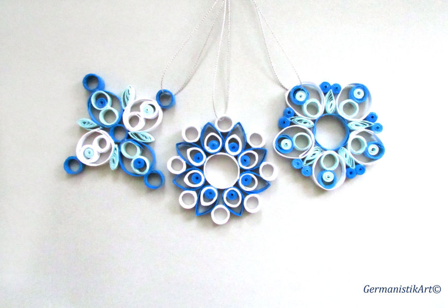 Christmas decoration set of 3 quilled snowflakes quilling for Decoration quilling