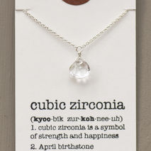 April Birthstone Necklace, Cubic Zarconia