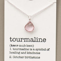 October Birthstone Necklace, Tourmaline